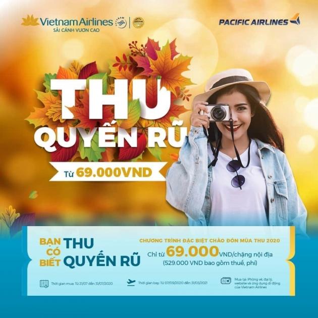 """""""THU QUYẾN RŨ"""" CHỈ TỪ 69.000 ĐỒNG/CHIỀU CỦA VIETNAM AIRLINES"""