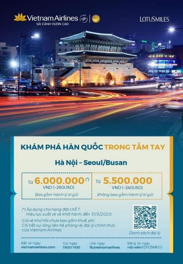 Du lịch Hàn Quốc trong tầm tay với ưu đãi của Vietnam Airlines chỉ từ 240 USD/ vé khứ hồi