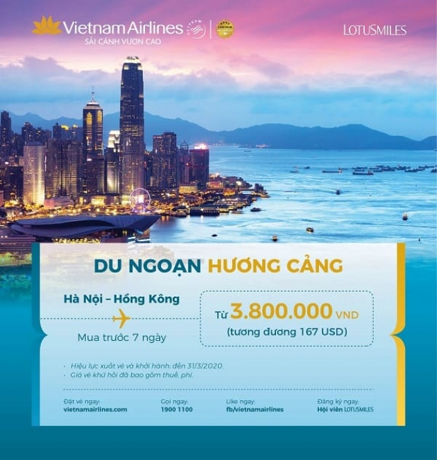 Cùng Vietnam Airlines du ngoạn Hương Cảng với ưu đãi vé khứ hồi chỉ từ 167 USD